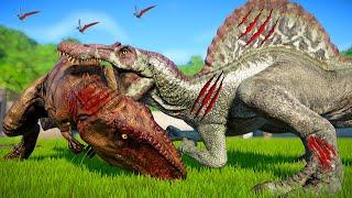 Jurassic World Evolution - Spinosaurus Vs Giganotosaurus, Carnotaurus, Stegosaurus,Stegoceratops JWE