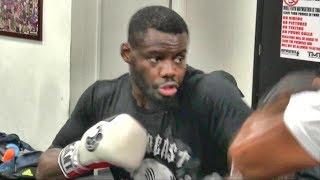Andrew Tabiti padwork inside Mayweather Boxing Club preparing for WBSS