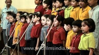 Children singing at Shri Ram school
