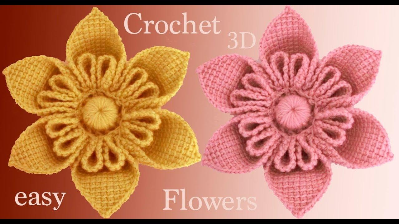 Flores A Crochet En 3d Paso A Paso Estilo Kanzashi Tejido