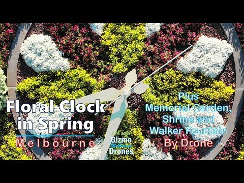 Floral Clock, St Kilda Rd - In Spring By Drone - Melbourne, Victoria, Australia