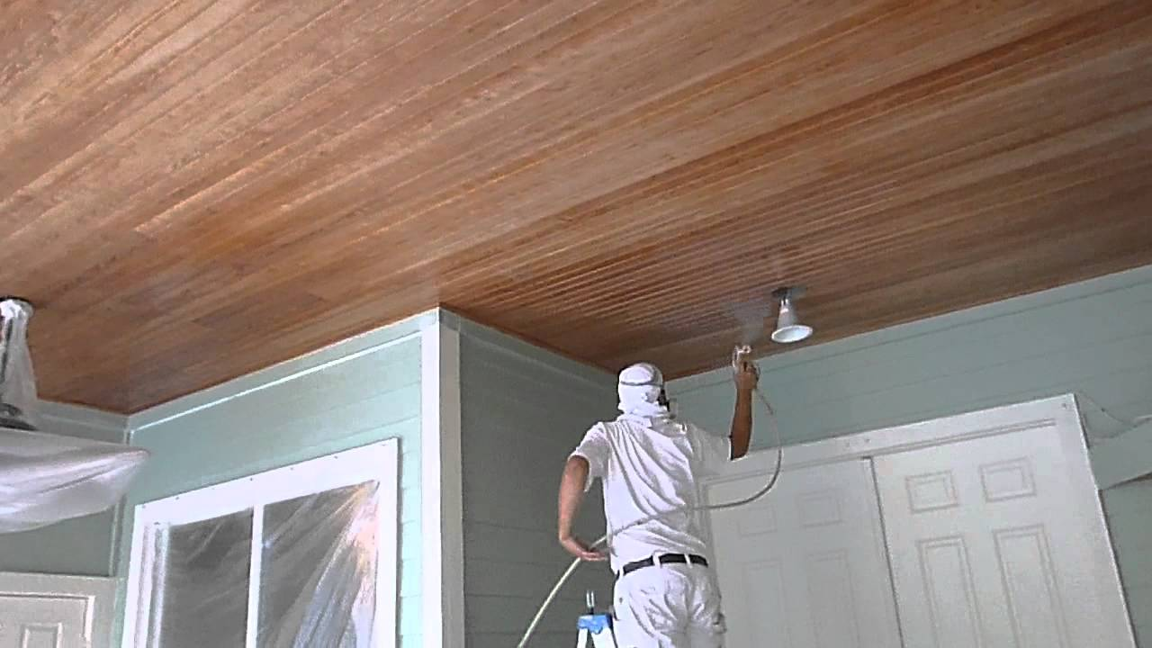 How to paint wood ceilings using graco airless sprayer for Tips for painting ceiling