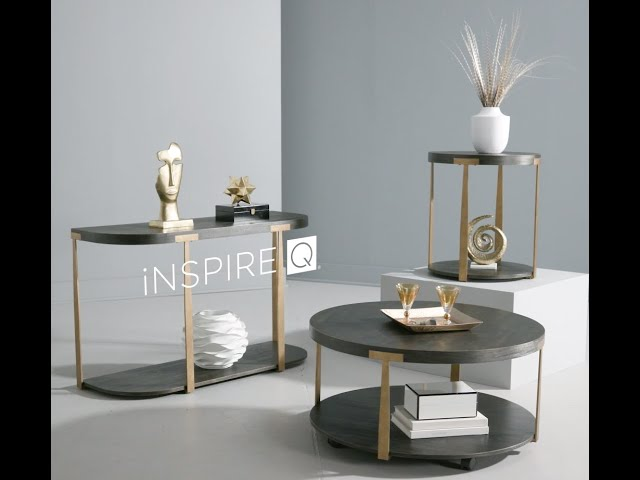 Jensen Wood and Metal T-Brace Round Tables by iNSPIRE Q Artisan