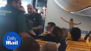 Passengers cheer as drunk woman is dragged off Ryanair flight