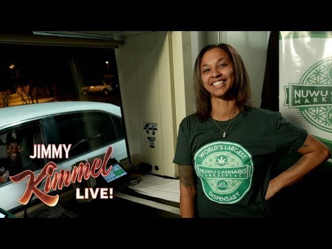 Jimmy Kimmel Talks to People Buying Weed at Marijuana Drive-Thru in Vegas