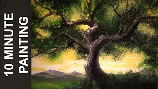 Painting an Angel Oak Tree With Acrylics in 10 Minutes!