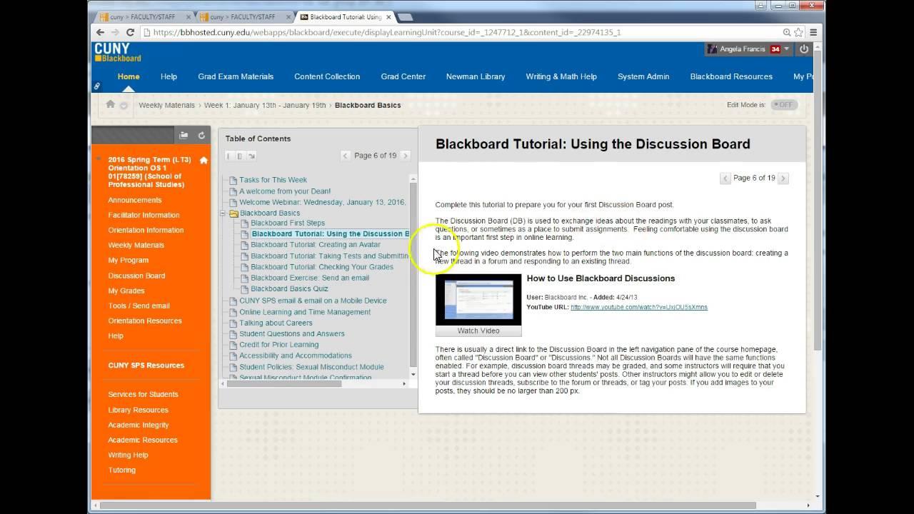 New Student Orientation: finding the Blackboard Basics Quiz