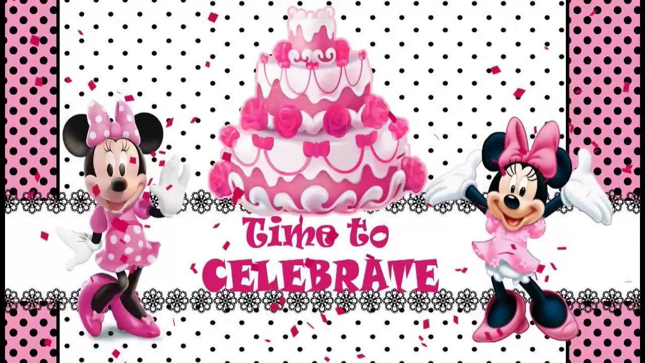 Minnie Mouse Theme Baby First Birthday Invitation YouTube