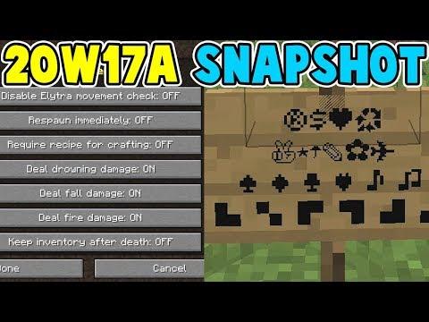 Minecraft 20w17a | Unicode Symbols & Gamerule Option Menu | 1.16 Nether Update Snapshot