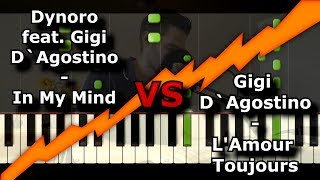 DYNORO & GIGI D'AGOSTINO - IN MY MIND im Vergleich mit L'AMOUR TOUJOUR | Piano Tutorial | German