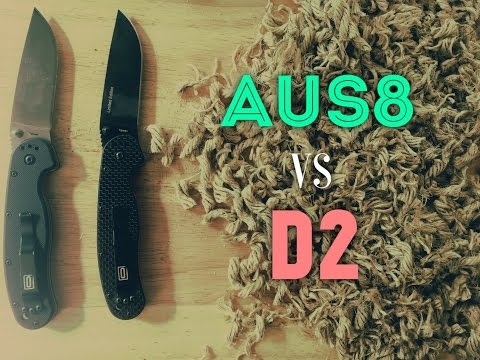 Edge Retention Test! AUS8 vs D2 - Ontario Rat 1 Steel Options Compared