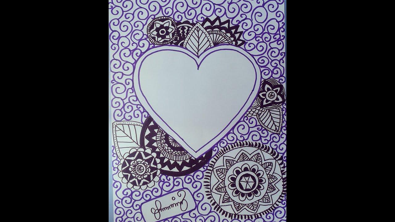 Kalpli mandala çizimi - ZENTANGLE DOODLE ART, heart and ...