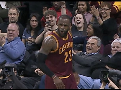 LeBron James Circus Reverse Lay-Up with English! | 02.01.17