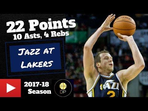 Joe Ingles at Lakers 4/8/18   22 Pts, 10 Asts, 4 Rebs