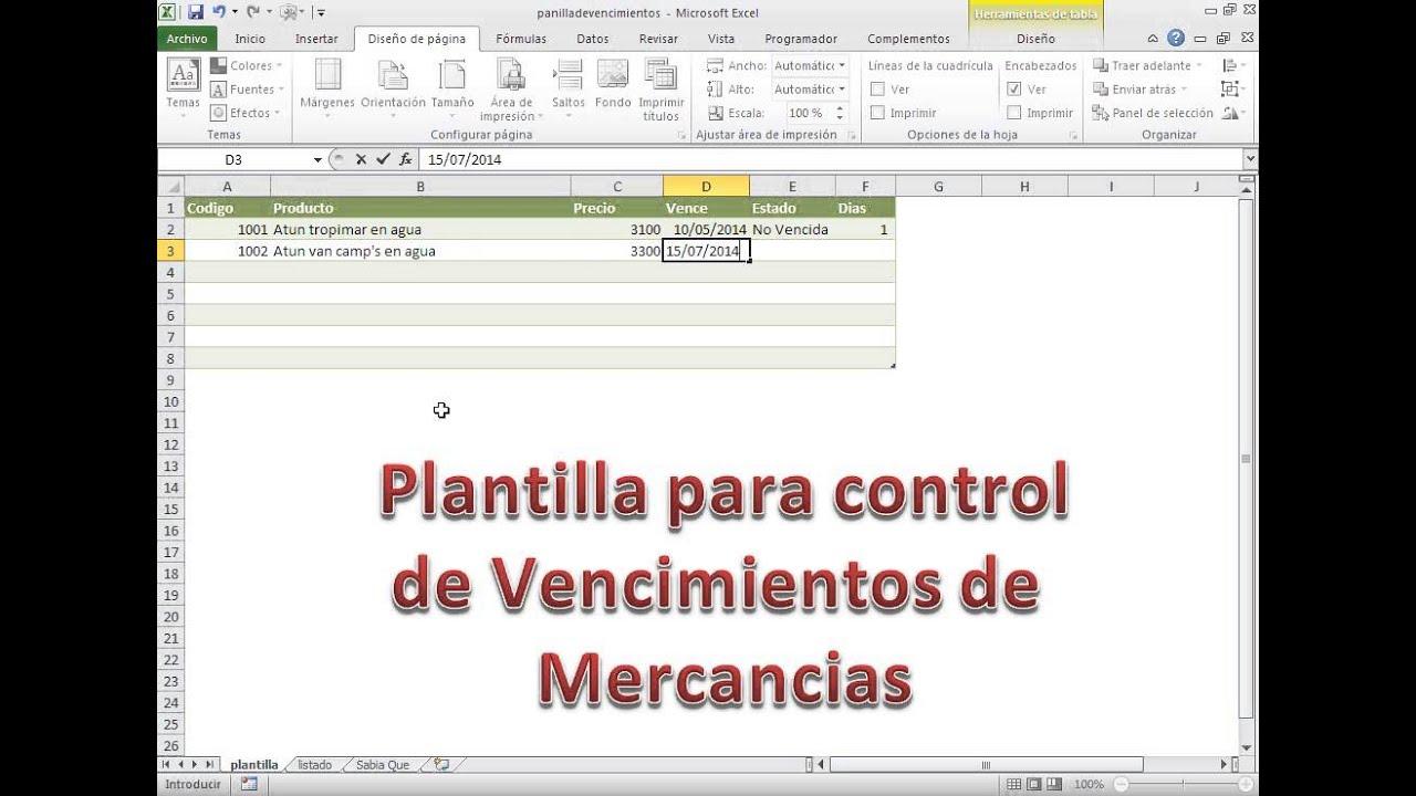 Plantilla para controlar vencimientos de mercancias con excel 2010 ...