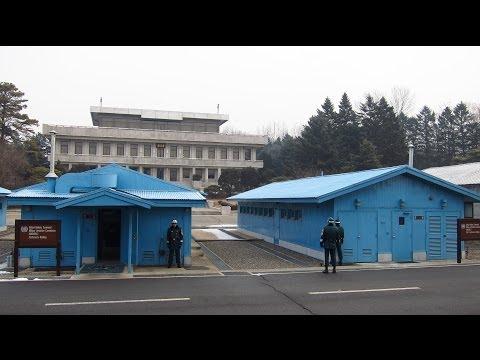 North Korea and South Korea Face to Face at Panmunjom at the The DMZ near Seoul, South Korea
