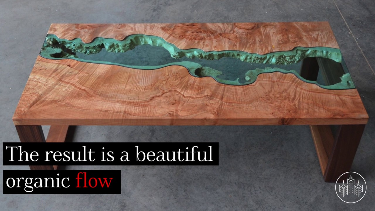 gorgeous reclaimed wood tables embedded with glass rivers by greg klassen