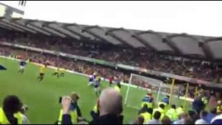 watford 3 1 leicester away fans reaction penalty save and goal