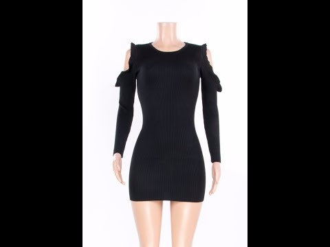 Winter New Solid Cotton Hollow Sleeves Tight Stylish Winter Dress Wholesale Mini Dresses