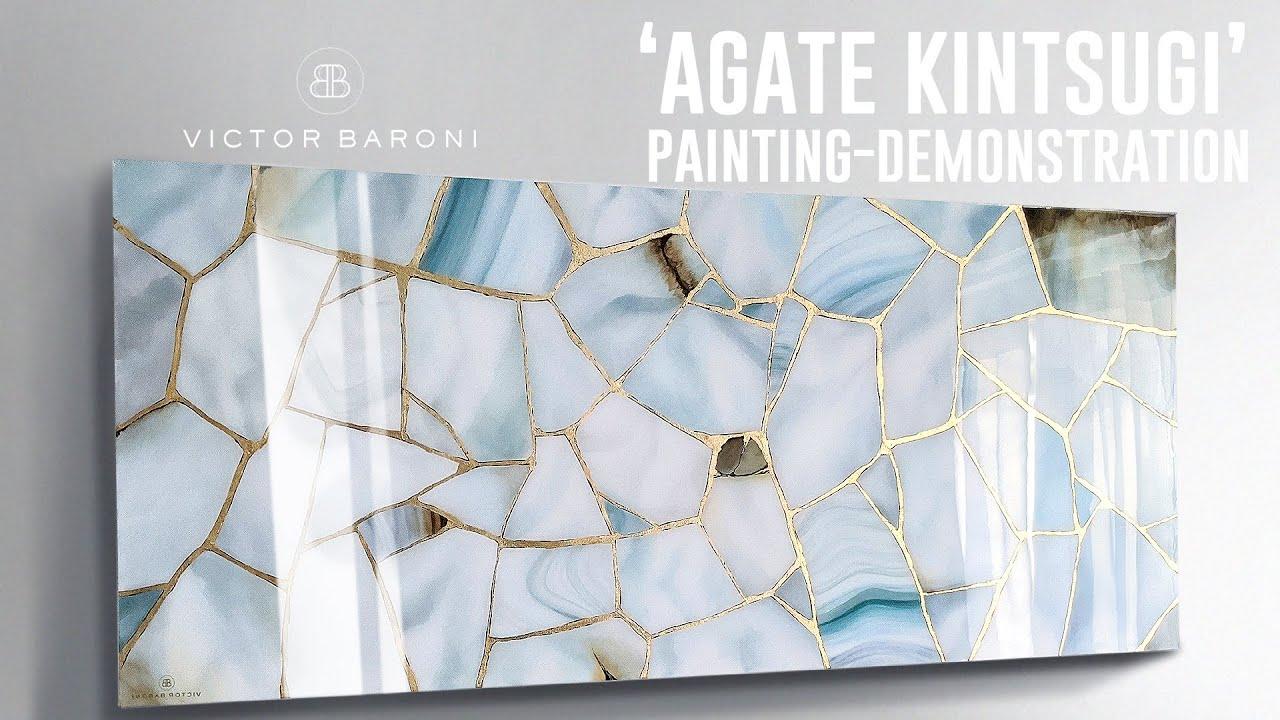 AGATE KINTSUGI - painting demo (no talking)