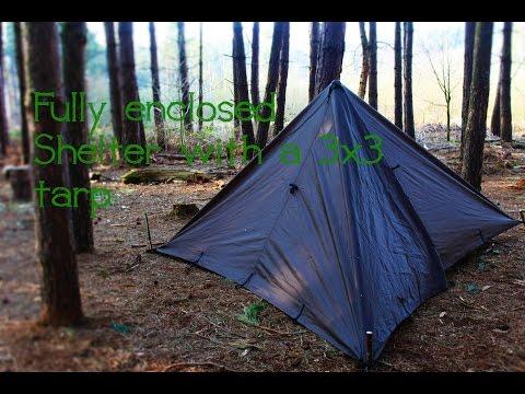 Bushcraft Skills | Fully enclosed tarp set up (3x3 tarp)