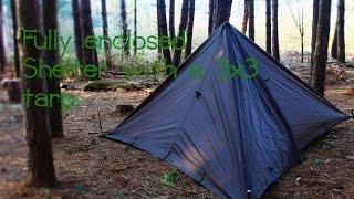 Bushcraft Skills | Fully enclosed tarp set up (3 meter x 3 meter tarp)