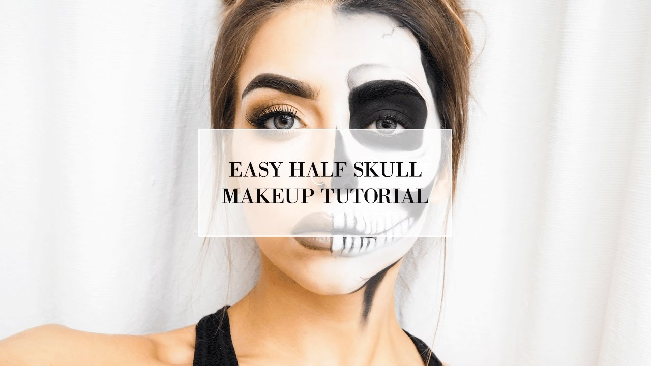 EASY HALF SKULL HALLOWEEN MAKEUP TUTORIAL I COCOCHIC