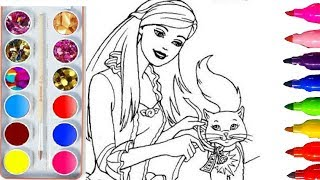 Glitter Pen Coloring Pages BARBIE for Kids Girls| Learning Videos Art Sparkling pen