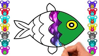 How To Fish Drawing For Kids | Kids Coloring Pages For Learn