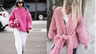 Объёмные вязаные свитера, пуловеры, кардиганы, джемпера. Вязание. Knitting Knitted Diy