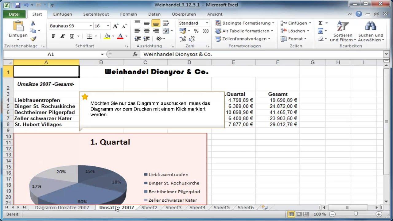 In Excel Ein Diagramm Drucken