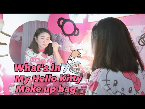 🎀what's in my Hello kitty make up bag + my everyday make up💄🎀
