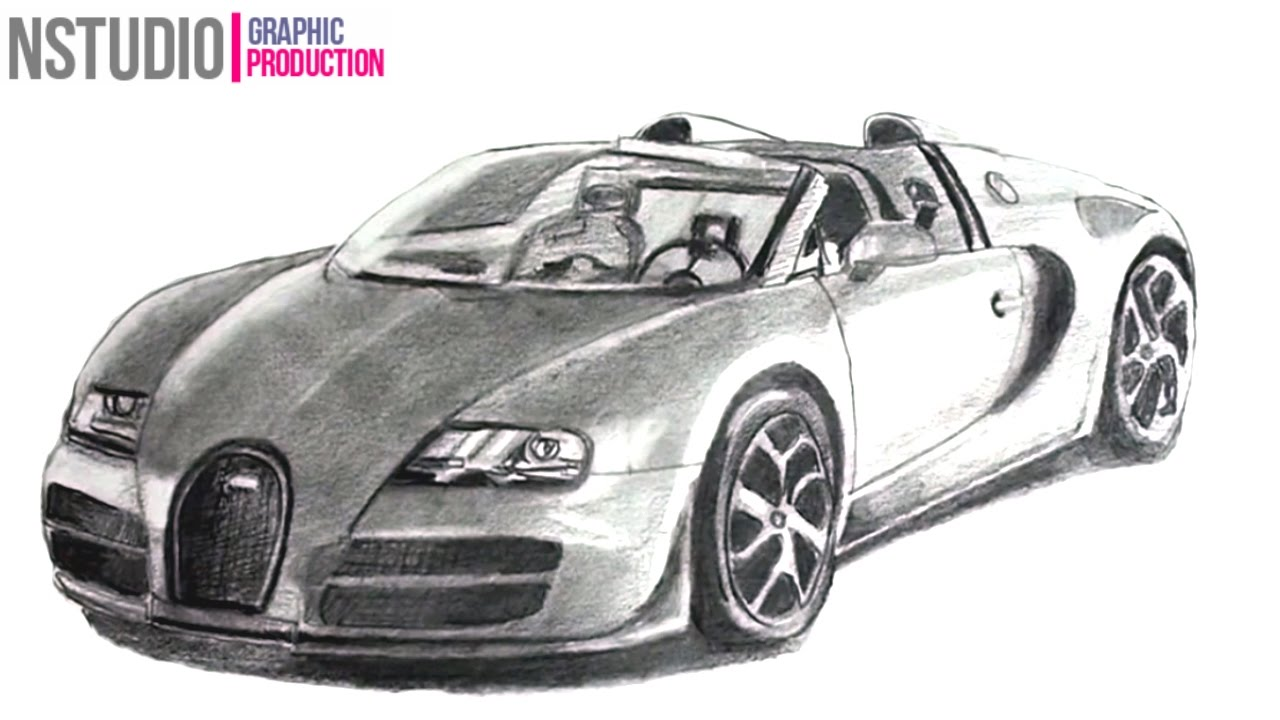 How To Draw Bugatti Veyron Sport Car Step By Step Car Drawing