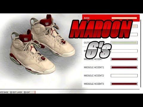 NBA 2K18 SHOE CREATOR TUTORIAL HOW TO MAKE AIR JORDAN 6 MAROON BEST AIR  JORDAN RETRO IN NBA 2K18!