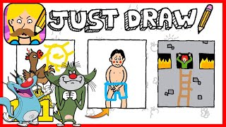OGGY AND JACK PLAYING Just Draw [Funny Game]