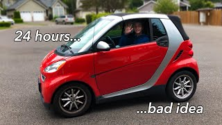 LIVING IN MY SMART CAR FOR 24 HOURS