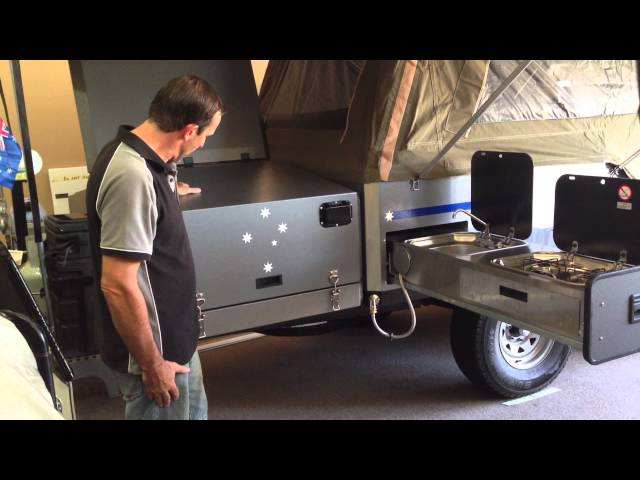 Slide out SS Kitchen with two burner cooker and sink on our Eureka offroad Camper Trailer