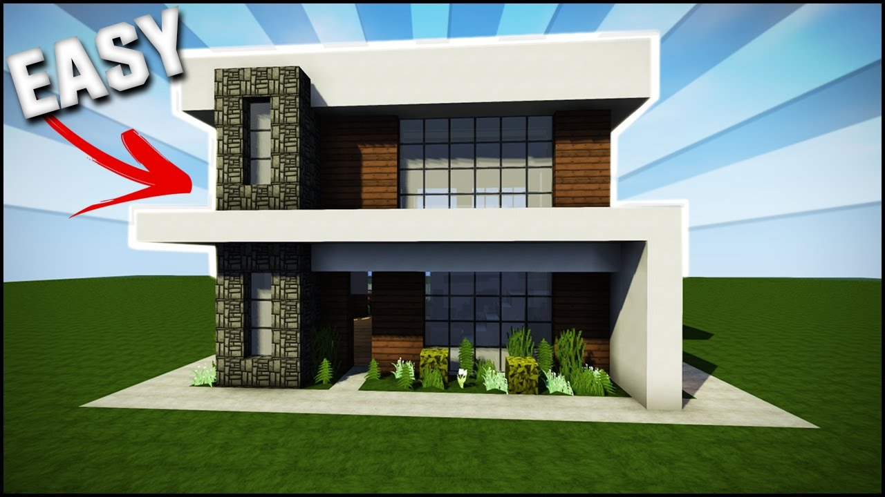 Minecraft house tutorial easy simple modern house best for Simple and modern house