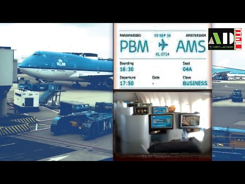 KLM 747 World Business Class Depart Surinam Paramaribo AUG 2016 Landing Amsterdam  Crown Lounge
