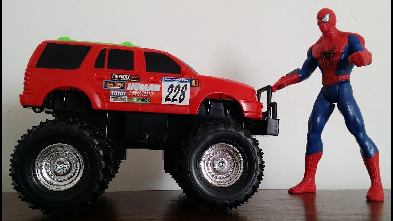 Spiderman Vs Monster Truck And Disney Cars Toys Pixar Youtube