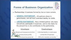 Session 01: Objective 2 - Forms of Business Organization (2016)