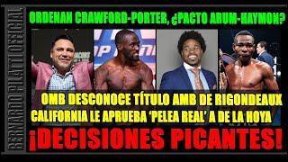 ¿Que hay detrás de Crawford vs. Porter, el campeonato de Rigondeaux y la pelea real de De la Hoya?