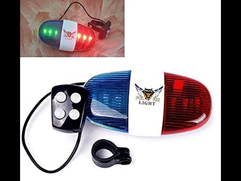 Lista 4-Tone Whistle Red Blue Police Light Lamp Electric Horn For Bike Bicycle HUI-49451