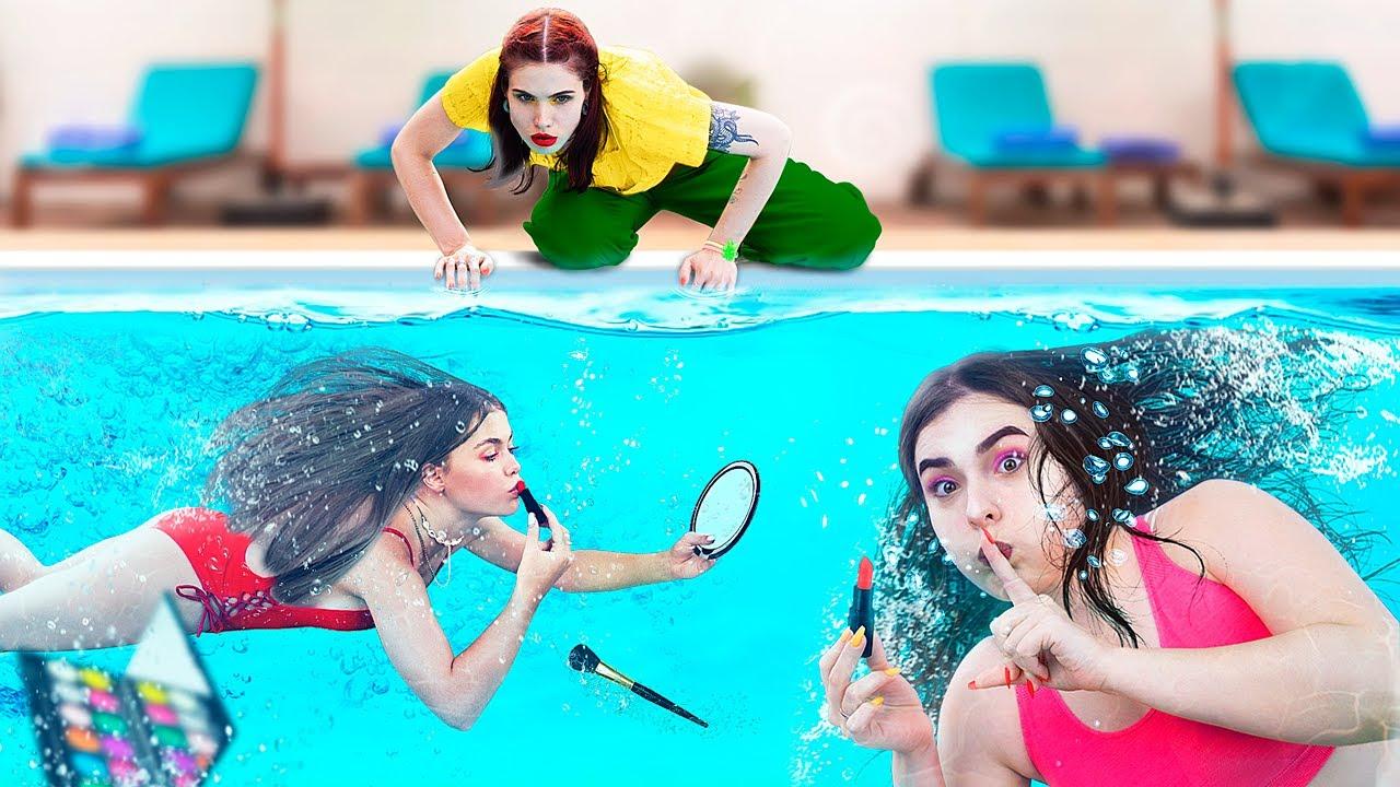 Как пронести косметику в аквапарк! Смешные трюки с косметикой