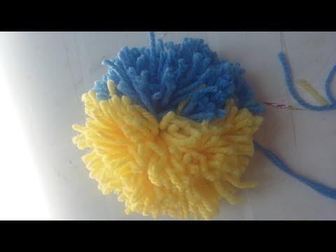 DIY  Como hacer un pompon/ pompon de dos colores
