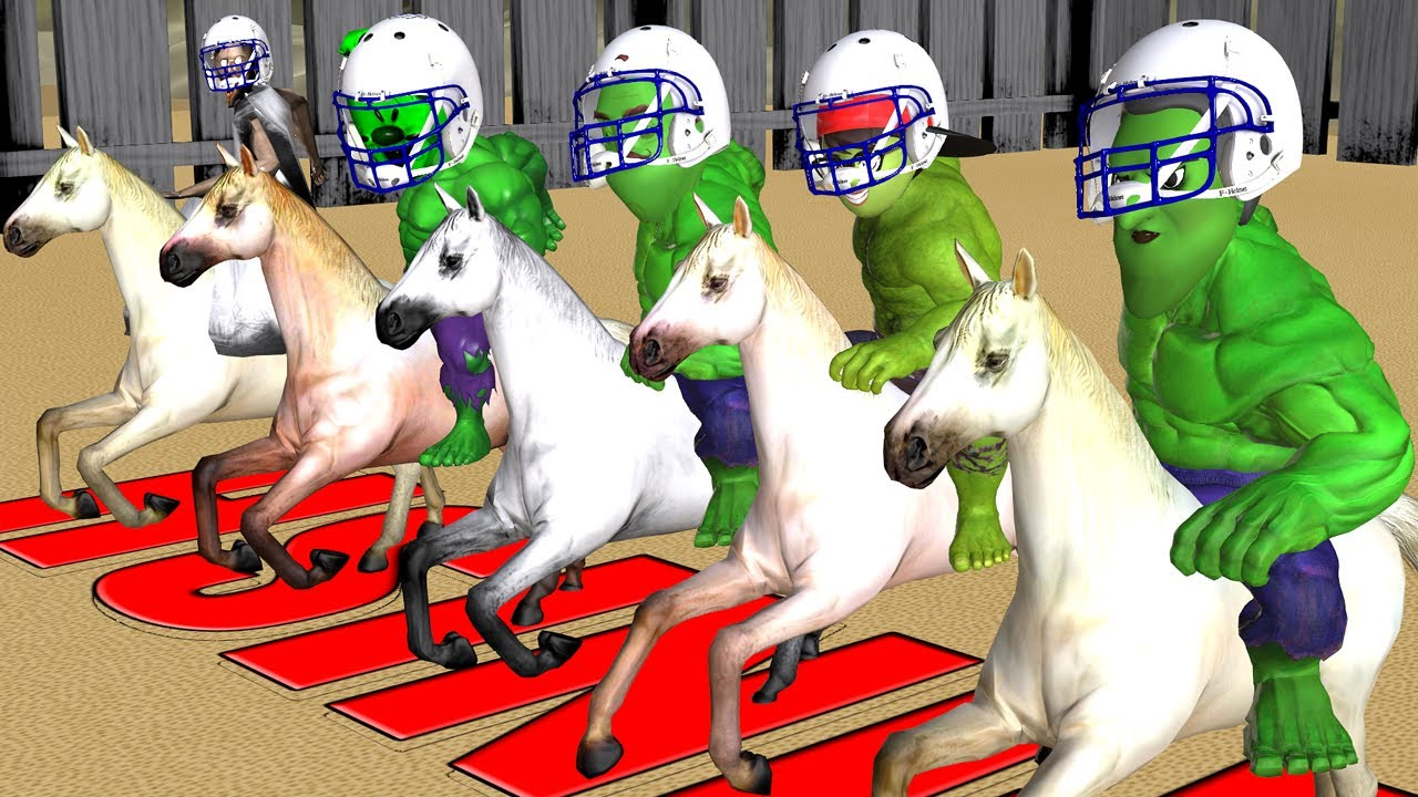 Scary Teacher 3D Horse Racing with Miss T Hulk, Nick Hulk, Ice Cream Hulk, Neighbor Hulk, Granny
