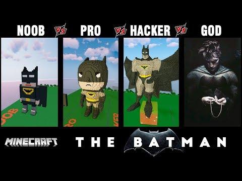 Minecraft Battle: NOOB vs PRO vs HACKER vs GOD: THE BATMAN Build challenge in Minecraft 13+