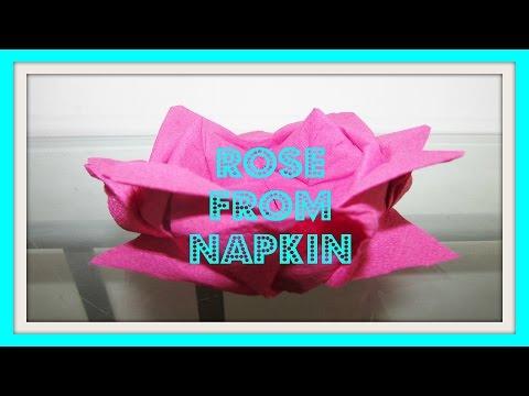 How to fold a napkin rose. Paper napkin rose, flower. Napkin DIY.