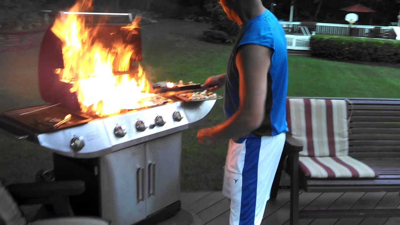 Grill up in flames