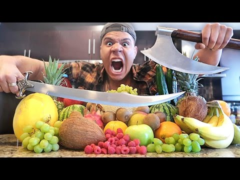 REAL LIFE FRUIT NINJA VS GIANT 100LBS AXE EXPERIMENT!! (DANGEROUS WEAPONS)